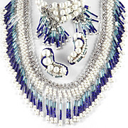 Hobe Bugle Seed Tube Bead Faux Pearl Fringe Pompom Necklace Bracelet Earrings Parure Set