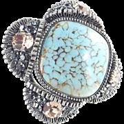 Austria Rhinestone Art Glass Cabochon Brooch Pin