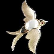 Trifari Figural Bird Brooch Pin Faux Pearl Rhinestone