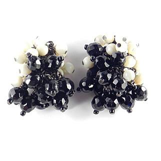 Josef Morton Bead Cluster Pompom Dangle Japanned Earrings