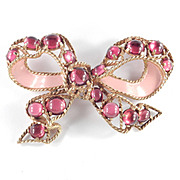 Castlecliff Huge Enamel Bow Pin Brooch Glass Cabochon Stones