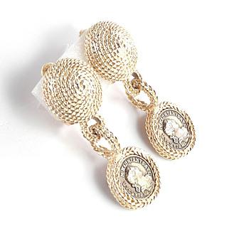 Les Bernard Faux Ancient Roman Coin Dangle Earrings