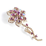 Western Germany Rhinestone Filigree Flower Brooch Pin