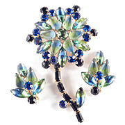 Bi-color Rhinestone Flower Brooch Pin Earrings Demi Parure Set