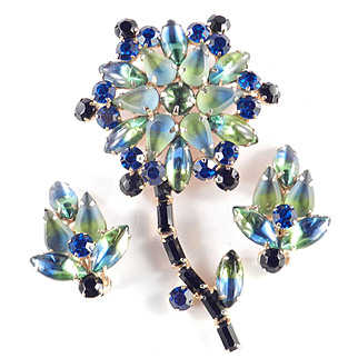 Bi-color Rhinestone Flower Brooch Pin Earrings Demi Parure Set