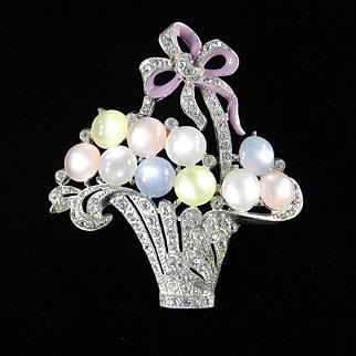 Rhinestone Moonglow Cabochon Enamel Flower Basket Brooch Pin Pot Metal