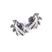 Weiss Rhinestone Climber Earrings Rhodium Plate
