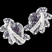 Weiss Rhinestone Climber Earrings Rhodium Plate