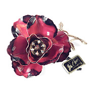Coro Large Enamel Rhinestone Flower Brooch Pin