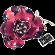 Coro Large Enamel Rhinestone Flower Brooch Pin