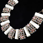 Wide Rhinestone Panel Resin Column Necklace