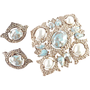 Sarah Coventry Remembrance Cabochon Faux Pearl Brooch Pin Pendant Earrings Parure Set