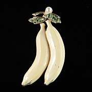 BSK Enamel Dangling Banana Fruit Figural Brooch Pin