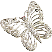 Large 1940s Vintage Rhinestone Butterfly Brooch Pin