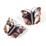 Early Handmade Renoir of California Copper Aluminum Butterfly Brooch Pin Pair Set