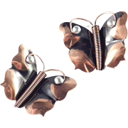 Early Handmade Renoir of California Copper Aluminum Butterfly Brooch Pin Pair Set