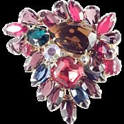 Large Multi Color Art Glass Rhinestone Brooch Pin