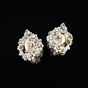 Robert Rhinestone Faux Pearl Earrings