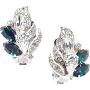 Eisenberg Rhinestone Earrings Rhodium Plate