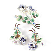 Austria Rhinestone Enamel Flower Spray Bouquet Brooch Pin Earrings Demi Parure Set
