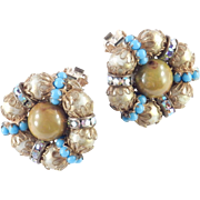 Hobe Bead Rhinestone Faux Persian Turquoise Rondelle Button Earrings