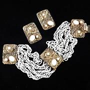Hobe Chain Link Bracelet Cabochon Bead Stations Earrings Demi Parure Set