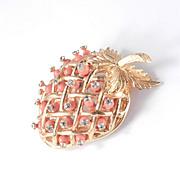DeNicola Bead Rhinestone Strawberry Brooch Pin