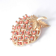 DeNicola Bead Rhinestone Strawberry Brooch Pin