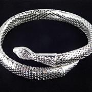 Whiting & Davis Mesh Coil Serpent Snake Collar Choker Necklace