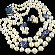 Hattie Carnegie Glass Bead Rhinestone Rondelle Faux Pearl Necklace Earrings Demi Parure Set