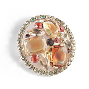 Juliana DeLizza & Elster Rhinestone Givre Art Glass Domed Brooch Pin