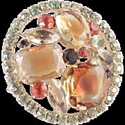 Juliana DeLizza & Elster Rhinestone Givre Art Glass Domed Brooch Pin