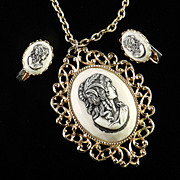 Molded Cameo Pendant Necklace Earrings Demi Parure Set