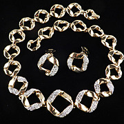 Rhinestone Ribbon Link Necklace Earrings Demi Parure Set