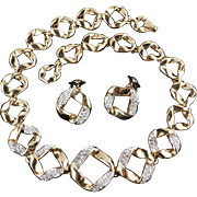 Rhinestone Ribbon Link Necklace Earrings Demi Parure Set
