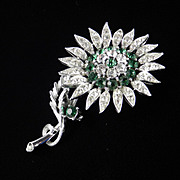 Lisner Rhinestone Sunflower Brooch Pin