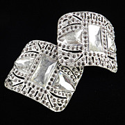 Art Deco Pair Rhinestone Shoe Buckles Clips Evergrip FBN Co