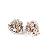 Miriam Haskell Rhinestone Faux Pearl Heart Earrings
