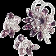 Eisenberg Ice Rhinestone Brooch Pin Earrings Demi Parure Set Rhodium Plate
