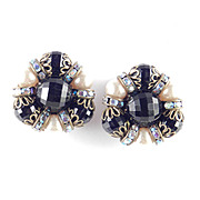Hobe Rhinestone Bead Faux Pearl Earrings