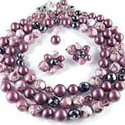 Robert DeMarioThree Row Glass Bead Necklace Earrings Demi Parure Set