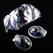 Whiting & Davis Hematite Glass Bracelet Earrings Demi Parure Set