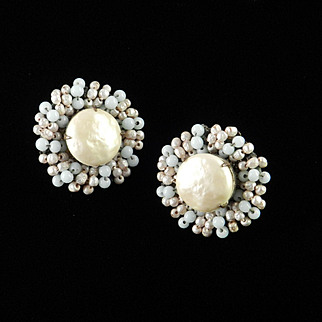 Miriam Haskell Glass Seed  Bead Faux Baroque Pearl Cabochon Earrings