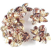 Kramer Rhinestone Glass Bead Brooch Pin Earrings Demi Parure Set