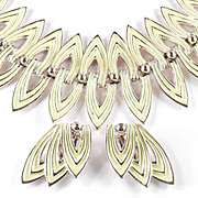 Signed ART Wide Enamel Bracelet Earrings Demi Parure Set