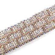 """Vintage 1 1/2"""" Wide Aurora Borealis Lattice Rhinestone Bracelet"""
