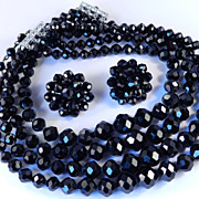Laguna Glass Bead 4 Strand Necklace Earrings Demi Parure Set