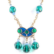 Miriam Haskell Larry Vrba Poured Glass Bead & Crystal Necklace