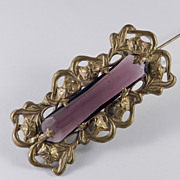 Art Nouveau Gilt Brass Amethyst Art Glass Brooch Pin