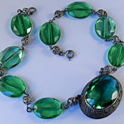 Czechoslovakia Green Glass Stone Filigree Bead Necklace 1920-1930 Vintage